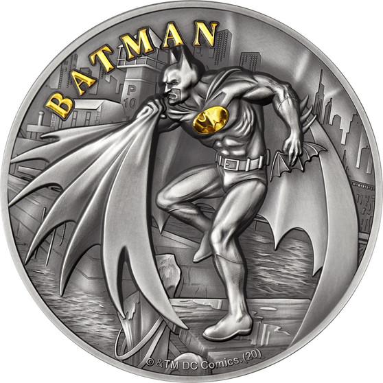 BATMAN 2 oz Silver High Relief Gilded Coin $10 Cook Islands 2021