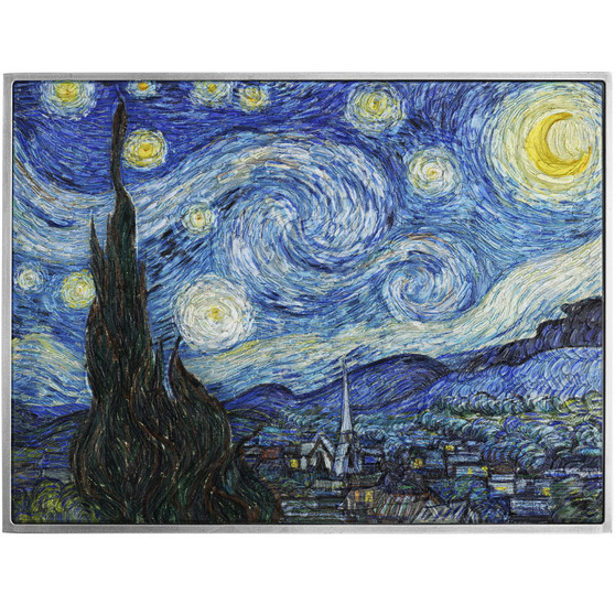 STARRY NIGHT By Vincent Van Gogh 2 oz & 33.5 oz Cu Silver Coin Chad 202