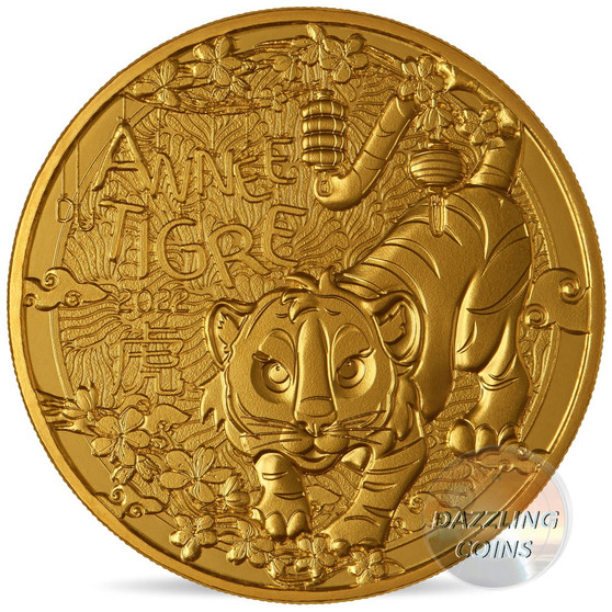 Lunar YEAR of the TIGER 1/4 Euro BU coin France 2022