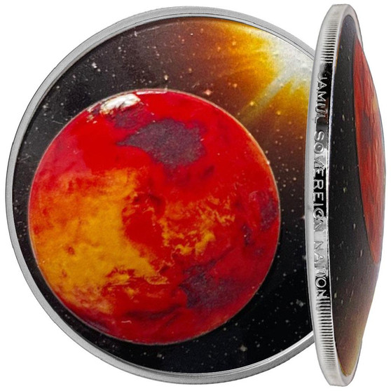 MARS Solar System 1 oz Silver Proof Dome shaped Color Coin 2021