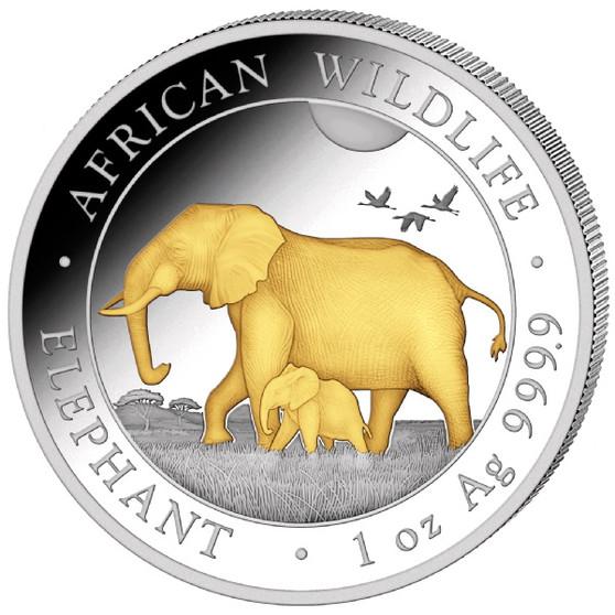 ELEPHANT African Wildlife 1 oz Silver Gilded Coin 2022 Somalia