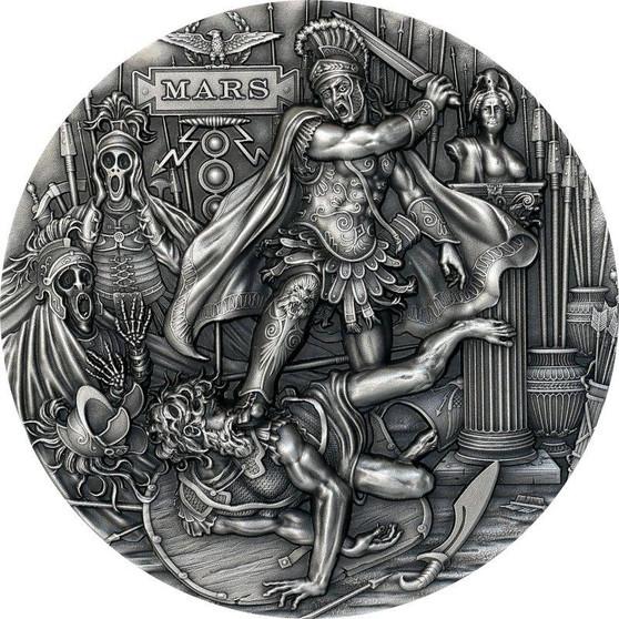 MARS– Roman Gods 2 oz Silver Ultra High Relief Coin Niue 2021