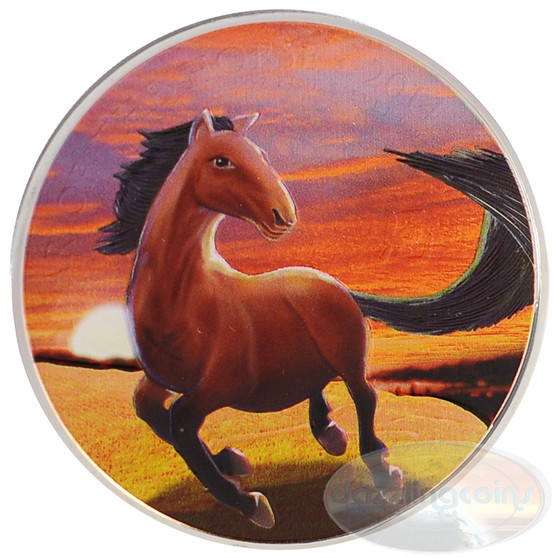 UK Silver Lunar Horse - Colored Sunset Edition