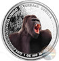 SILVERBACK GORILLA 1 oz Proof Silver color Coin 5000 Francs Congo 2017