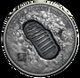 MOON LANDING Footprint Meteorite 1 Oz Silver Coin Cook Islands 2019