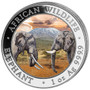 African Wildlife ELEPHANT Day-Night 2x 1 oz. Silver Coins Somalia 2020