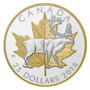 CARIBOU Timeless Icons 1 oz $25 Silver Gold Plated Piedfort Coin CA 2018