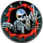 ANGRY SKULL 1 oz Silver Eagle Silver Colorized Coin USA 2020
