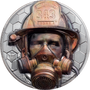 FIREFIGHTER Real Heroes 3 oz Silver Black Proof Coin $20 Cook Islands 2021