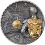 STEAMPUNK JET PACK 3 oz Silver Gilded Coin Cook Islands 2021
