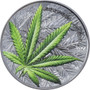 CANNABIS SATIVA Concave 1 oz Silver Black Proof Coin Benin 2021