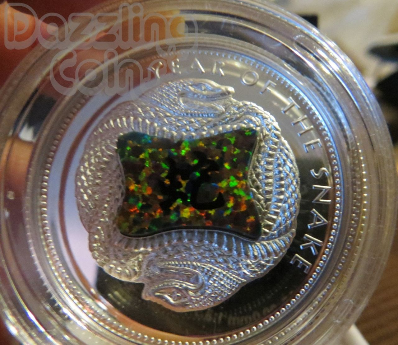 $10 Dollar Lunar Fiji 1 oz fine silver Year of the Snake 2013 Proof Gilson Opal