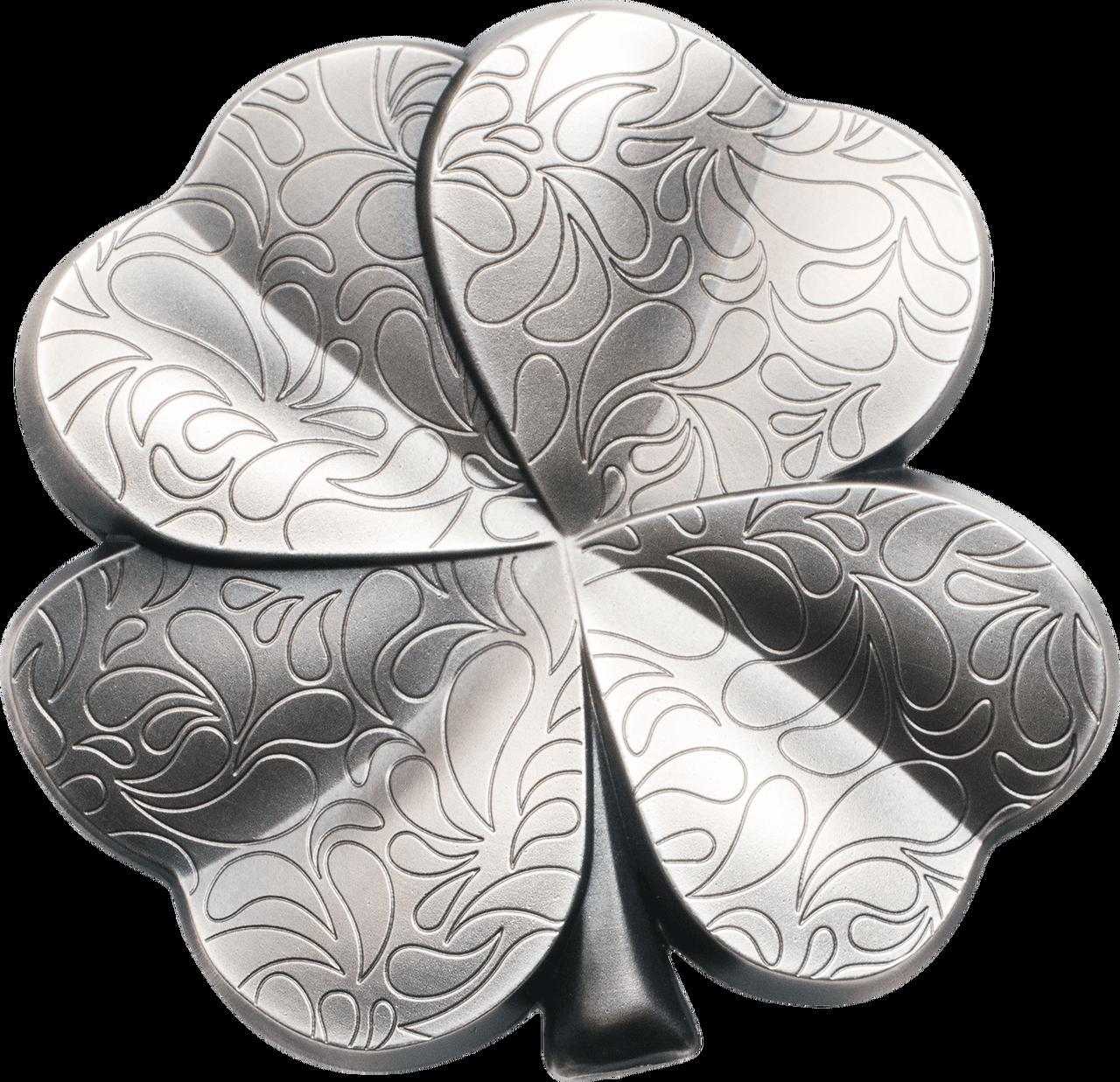 Silver Fortune Four Leaf Clover Shape 1 Oz Silver Coin 5 Palau 2018