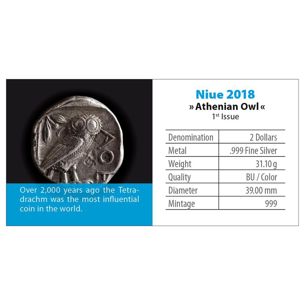 OWL of ATHENS - PARTHENON Silver color coin 1 OZ Niue 2018