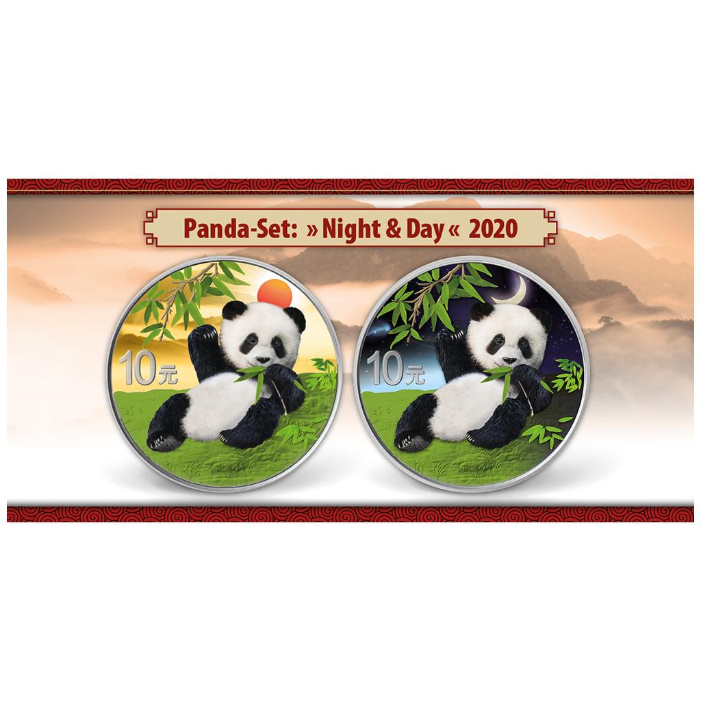 Silver China 2017 Color coloured 2 x 10 Yuan Panda Night /& Day Set 2 x 30 gr