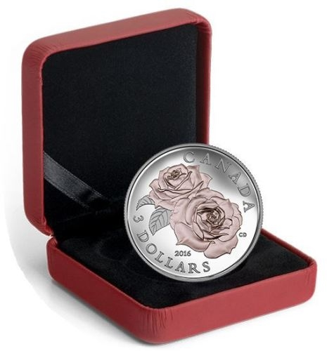 QUEEN ELIZABETH ROSE - Pink Gold Gilding 2016 Fine Silver Coin
