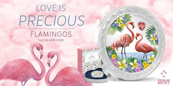 Love is Precious – Flamingos 1 oz Silver Proof Coin Niue 2020