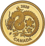 LUCKY FLOWER DRAGON 1/25 oz Gold Proof Coin Canada 2020