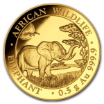 ELEPHANT African Wildlife 0.5 g Pure Gold Coin Somalie 2019 ELEPHANT African Wildlife 0.5 g Pure Gold Coin Somalie 2019  ELEPHANT AFRICAN WILDLIFE 0.5 G PURE GOLD COIN SOMALIE 2019