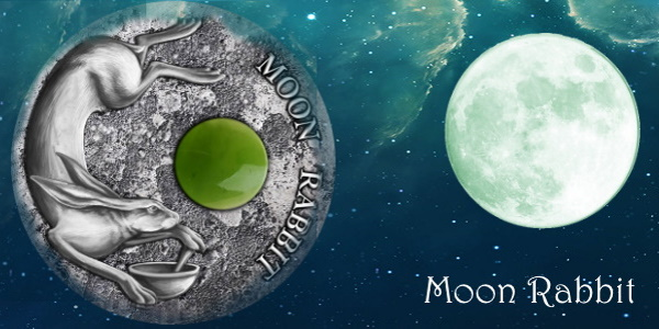 MOON RABBIT Jade insert Silver Coin $2 Niue 2021