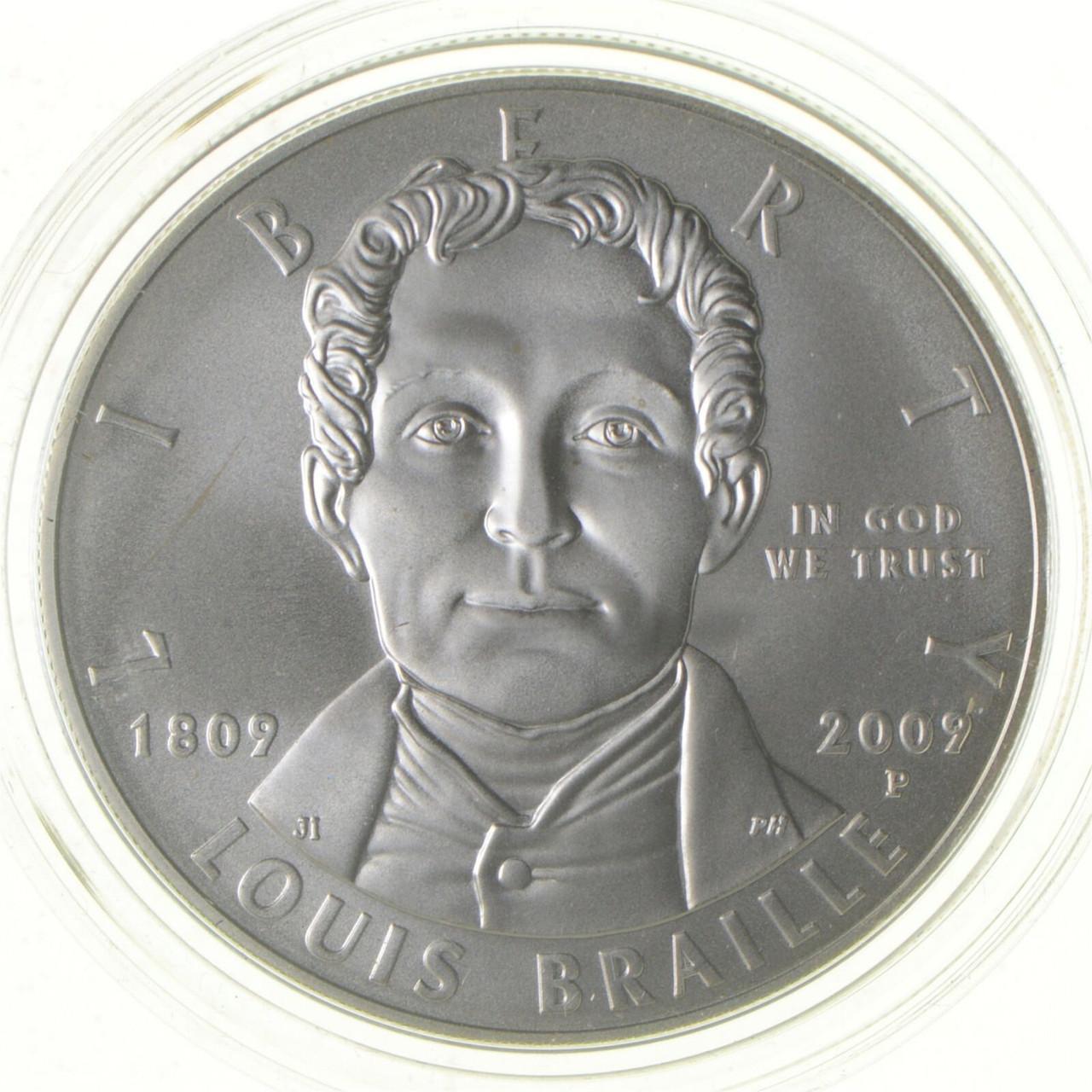 2009 US Mint $1 Louis Braille Comm Silver Dollar UNC