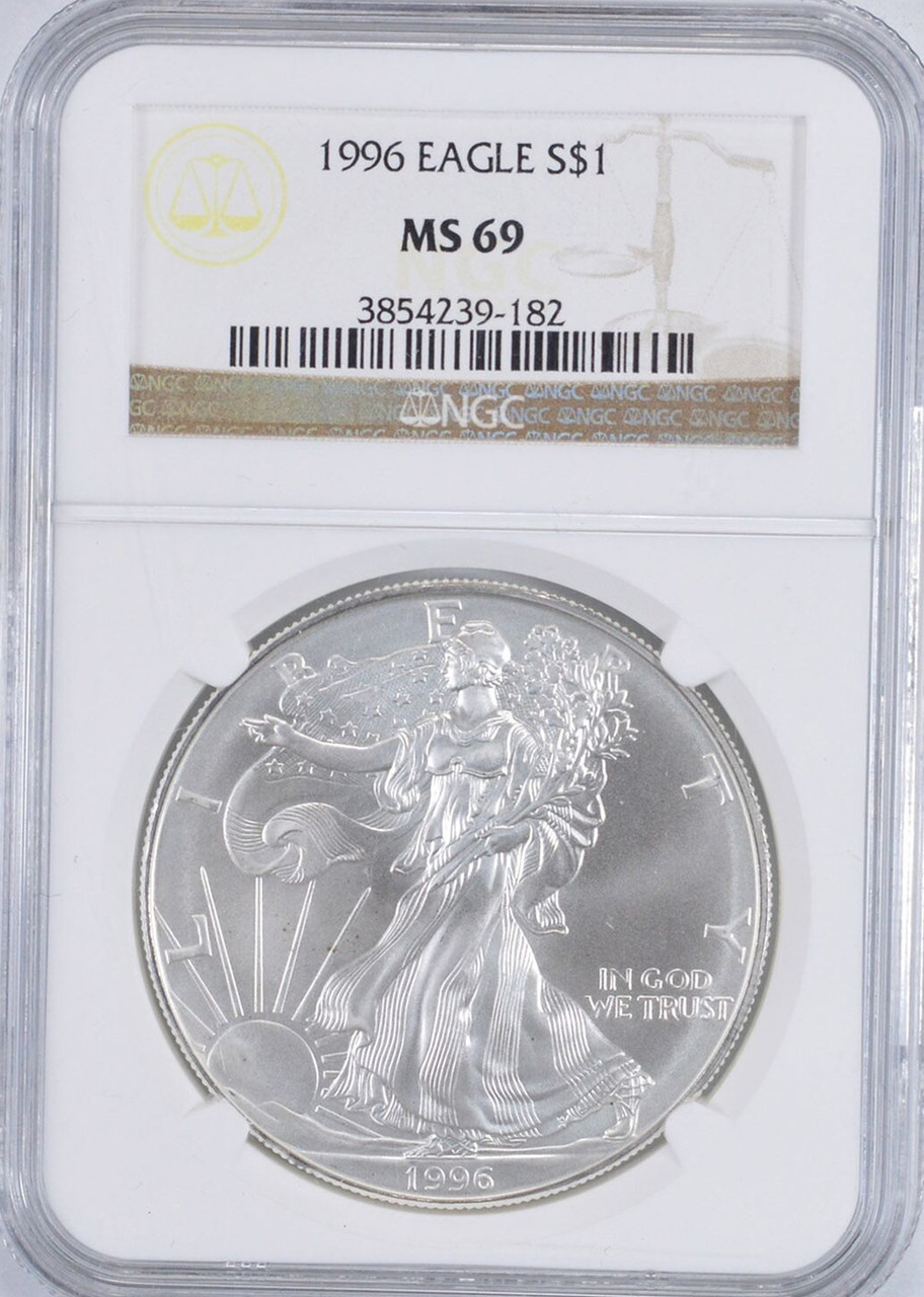 1996 $1 AMERICAN SILVER EAGLE NGC MS69