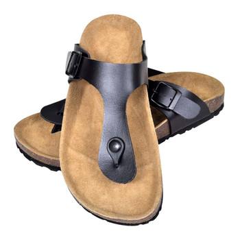 Sandale od bio pluta u obliku japanki s remenom crne unisex 36