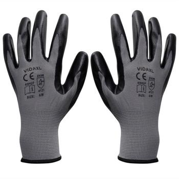 vidaXL Radne rukavice Nitril 24 Para Sivo-Crne Veličina 9/ L