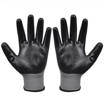 vidaXL Radne rukavice Nitril 24 Para Sivo-Crne Veličina 8/M