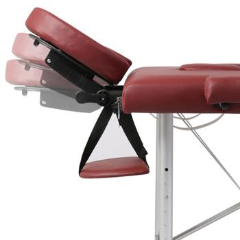 Crveni Sklopivi Masažni Dvodijelni Stol s Aluminijskim Okvirom
