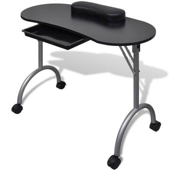 Crni sklopivi stol za manikuru s kotačićima