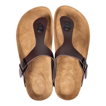 Sandale od bio pluta u obliku japanki s remenom smeđe unisex 36