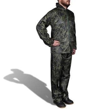 Kišno muško odijelo s kapuljačom, Veličina XL, Boja kamuflaže