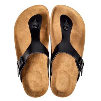 Sandale od bio pluta u obliku japanki s remenom crne unisex 37
