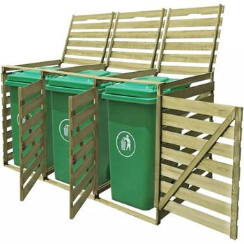 vidaXL Impregnirana drvena trostruka kućica za kante za smeće 240 L