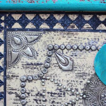 vidaXL Škrinja za pohranu Plava Mango drvo 80x40x45 cm