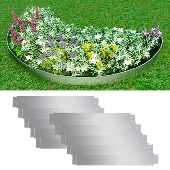 Set 10 savitljivih vrtnih ograda od pocinčanog čelika 100 x 15 cm