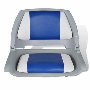 Sklopiva stolica za plovila jastukom u boji plave-bijele 41x51x48cm