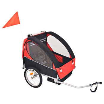 vidaXL Dječja Prikolica za Bicikl Crveno Crna 30 kg