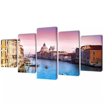 Zidne Slike na Platnu Set s Printom Venecija 100 x 50 cm