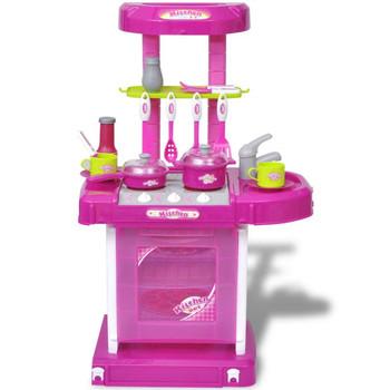 Dječja ružičasta kuhinja sa svjetlosnim i zvučnim efektima