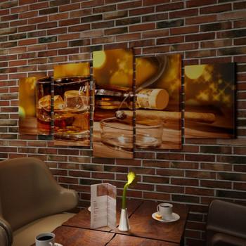 Zidne slike na platnu, viski i cigare, 100 x 50 cm