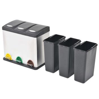 vidaXL Kanta za Recikliranje Otpada s Pedalama od Nehrđajućeg Čelika 3x8 L