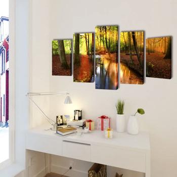 Zidne Slike na Platnu s Printom Šuma 100 x 50 cm