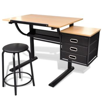 Radni stol s nagibom pločom i stolicom za crtanje
