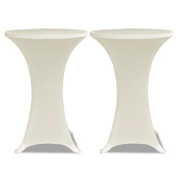 Krem rastežljiv stolnjak za stolove Ø60 2 kom