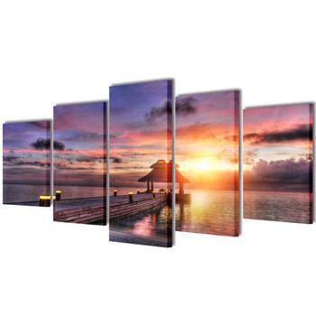 Zidne Slike na Platnu Print Pješčane Plaže i Paviljona 200 x 100 cm
