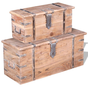 vidaXL Dvije Škrinje za Pohranu Set Akacija Drvo