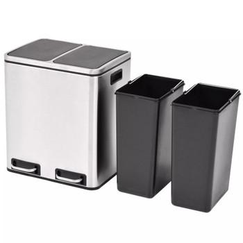 vidaXL Kanta za Recikliranje Otpada s Pedalama od Nehrđajućeg Čelika 2x15 L