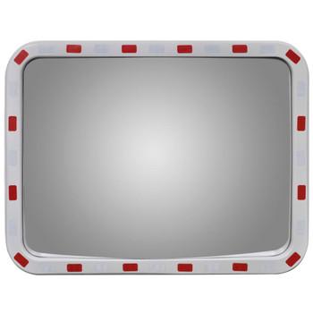 Konveksno pravokutno prometno ogledalo, 60 x 80 cm s reflektorima